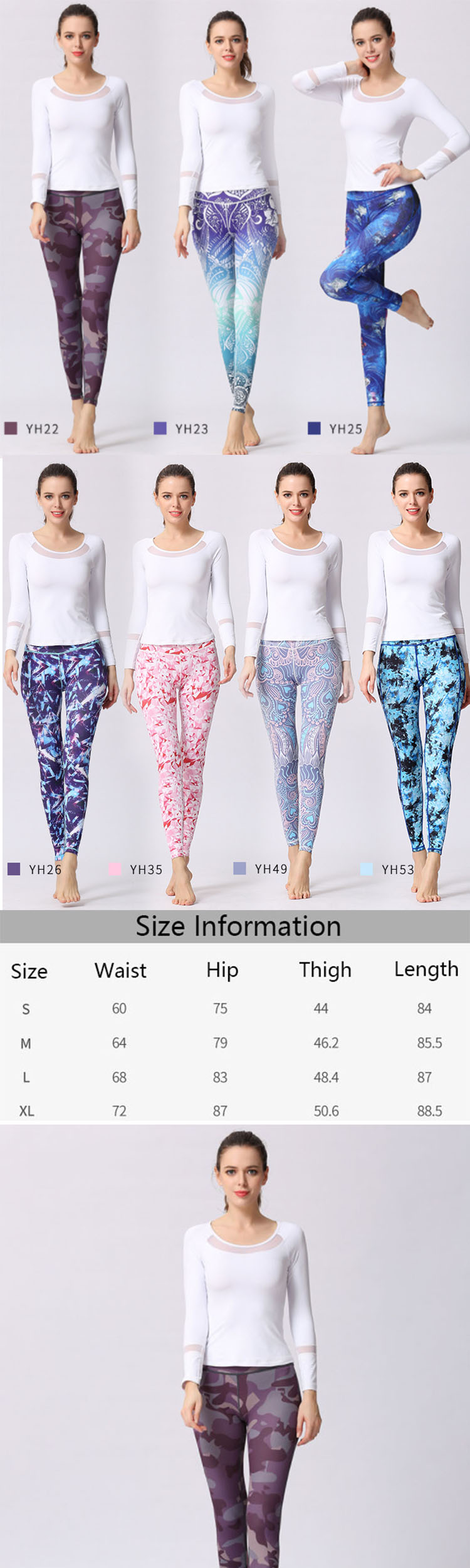 The effect of colourful sports leggings printing on some fabrics is not clear