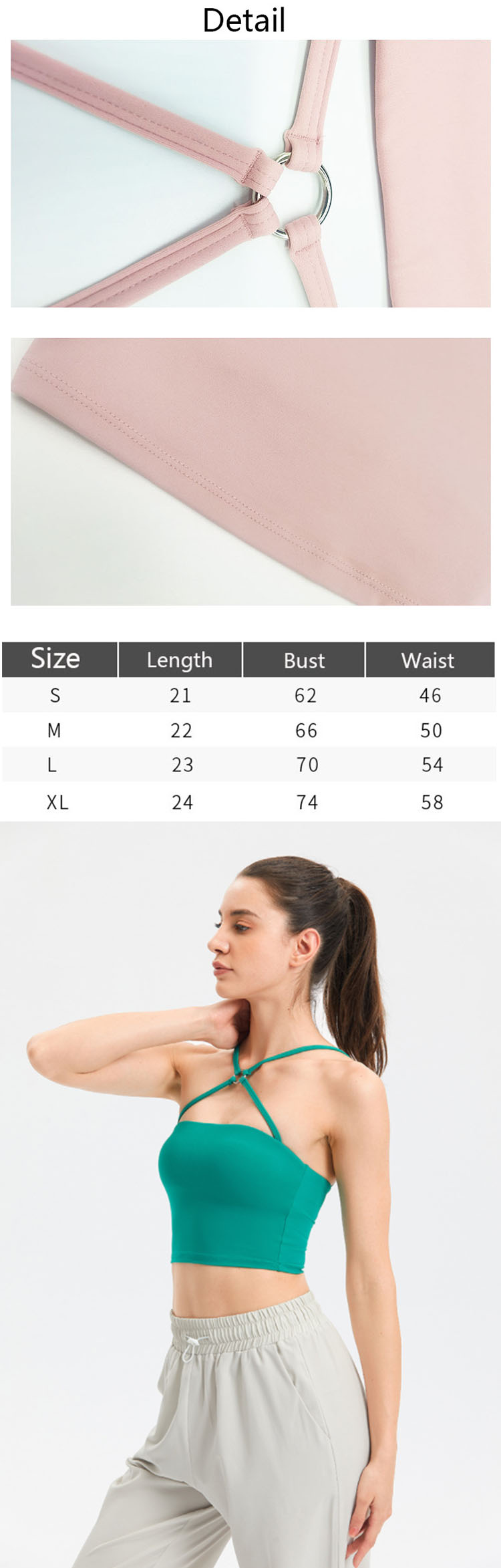 Alloy accessories are used on the chest, and the cross straps on the neckline are not only breathable, but also add sexy charm.