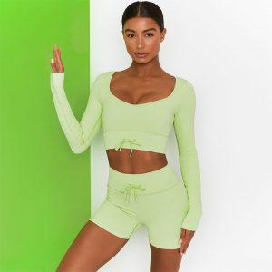 Green running leggings
