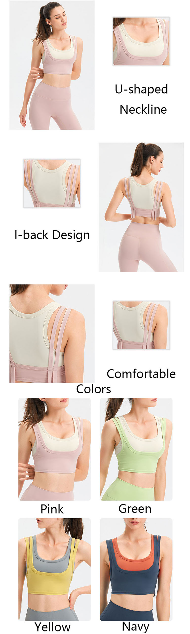 The double-layer shoulder strap design makes the womens running shirts more refined while increasing the sense of lifting