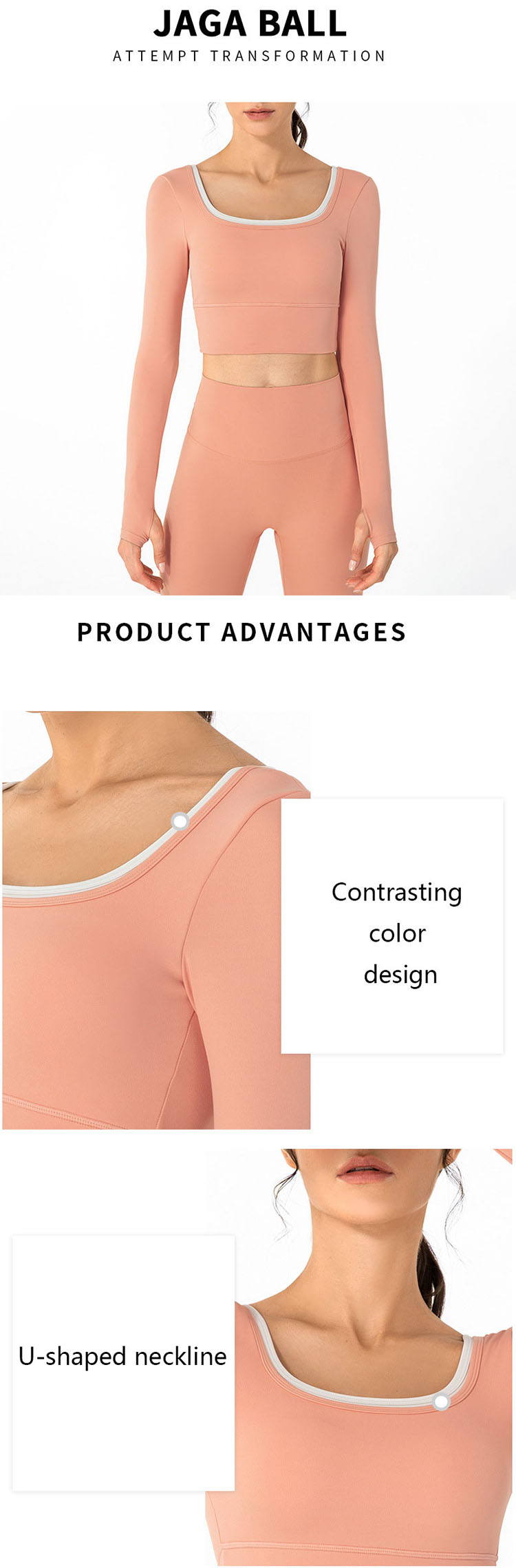 Contrasting color stitching is still popular in the 22 autumn and winter sports women's activewear long sleeve tops
