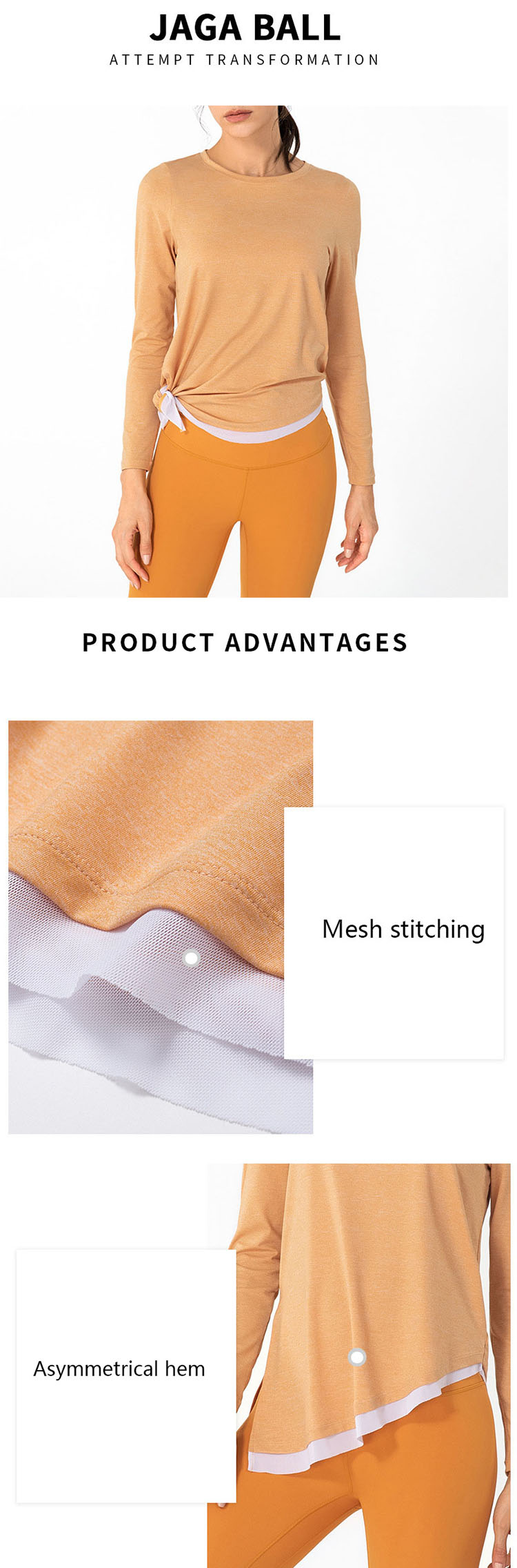 Long sleeve athletic tops, unique tearing details and contrast stitching are all very trendy design elements